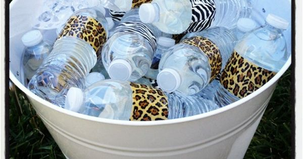 Animal Print Duct Tape On Water Bottles For A Safari Baby