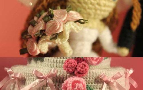 Dreamy Bride and Groom with Wedding Cake amigurumi pattern by Sahrit ...