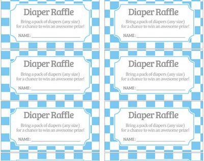 Free Pastel Light Blue Checker Pattern Diaper Raffle Tickets | Baby Shower Printables ...