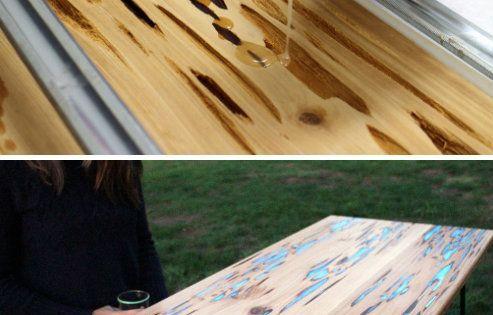 Utiliser De La R Sine Pour Bois Phosphorescente Pour Customiser Une Table Use Of The Resin