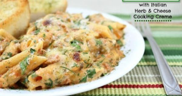 Baked Penne with Italian Herb and Cheese Cooking Creme | Pasta ...