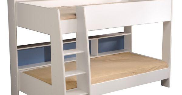 Lit superpose avec rangement lits l o blanc pour enfant - Tablette pour lit superpose ...