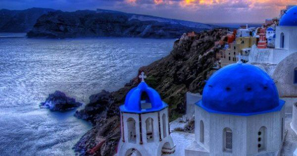 Blue hour in Oia, Santorini Greece oia santorini island Greece europe beach