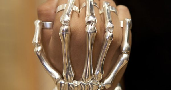 "silver skeleton hand ""glove""...grownup costume"