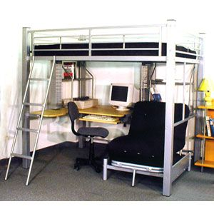 Full Size Loft Bed On Top Twin Size Futon Chair Bed On Bottom Pc