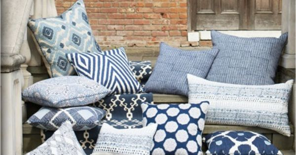 blue and white from John Robshaw Navy and White Pinterest White pillows, Inspiration and ...