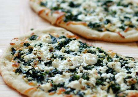 Pizza Bianca with Goat Cheese and Greens | Pizza, Spinach and Goat ...