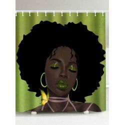 Afro Hair Lady Immersed In Her Own World Waterproof Shower Curtain