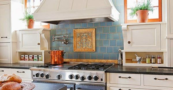 here is another kitchen backsplash idea from french country cottage with blue tile white. Black Bedroom Furniture Sets. Home Design Ideas