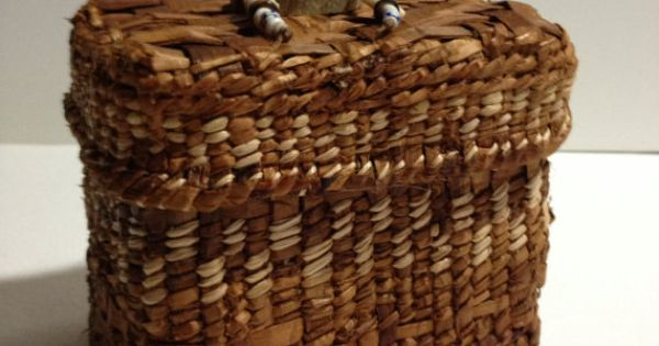 How To Weave A Cedar Basket : Handwoven basket cedar bark primitive home by