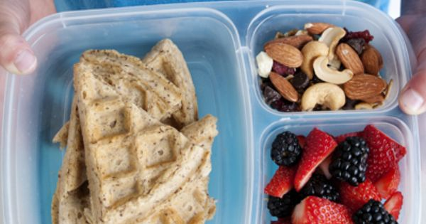 Whole wheat waffles in the lunchbox. Great lunch idea
