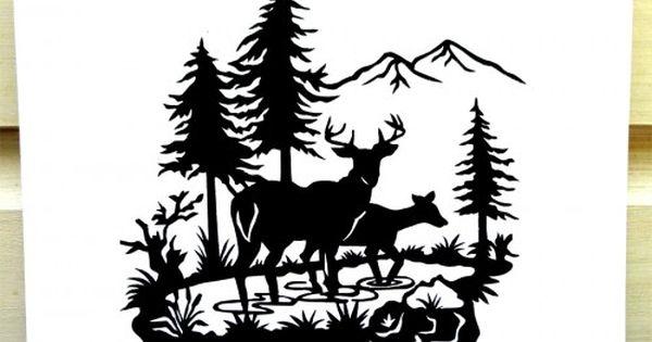 Tranquil Deer In Woods Scene Hand Cut Paper Silhouette