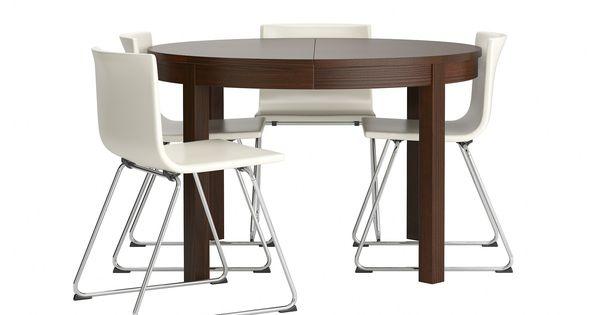 Bjursta bernhard table et 4 chaises chrom kavat blanc for Chaise bernhard ikea