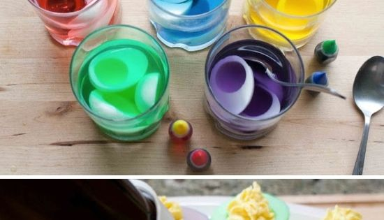 Colorful Deviled Eggs Make the colors just as you would easter egg
