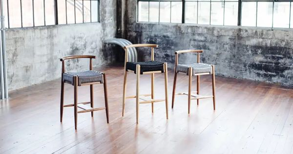 Harbor Stool Handmade Modern Walnut And Rope Seat Counter Stool With Backrest In 2020 Stool Wood Counter Wood Stool