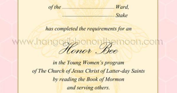 printable Honor Bee certificate | Personal Progress ...