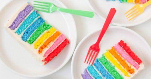 Rainbow Cake - Great Birthday Cake Idea!