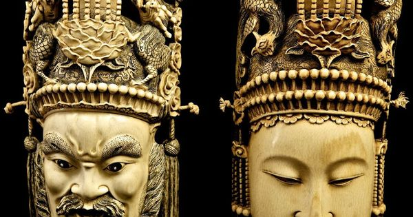 Antique Chinese Early Qing Dynasty Carved Dragon Emperor Phoenix Empress Masks Chinese Ivory