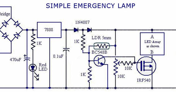 Emergency Light With Led Array Circuits 233 Lectroniques