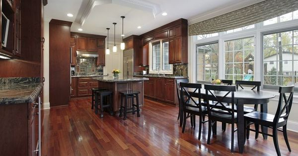 floors traditional dark wood cherry kitchen cabinets 73