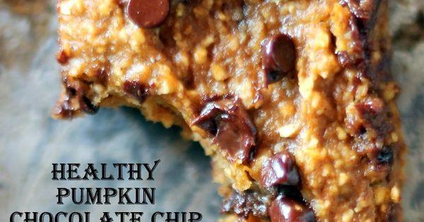 Healthy Pumpkin Chocolate Chip Oat Bars - Vegan Dessert health Dessert
