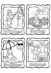 Four Seasons Coloring Page Printable Inglese Grammatica
