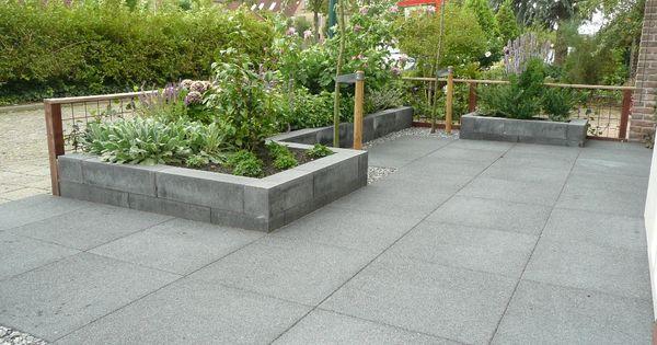 Plantenbak antraciet tuin pinterest tuin - Terras rand idee ...