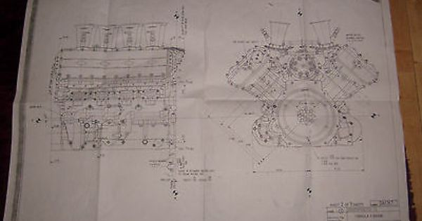 Copy Of Original Ford Cosworth Blueprint For Dfv Formula 1 Engine