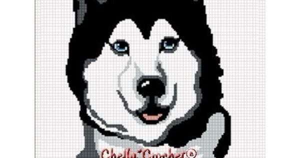 Chella Crochet Pattern Siberian Husky Dog Pattern Afghan ...