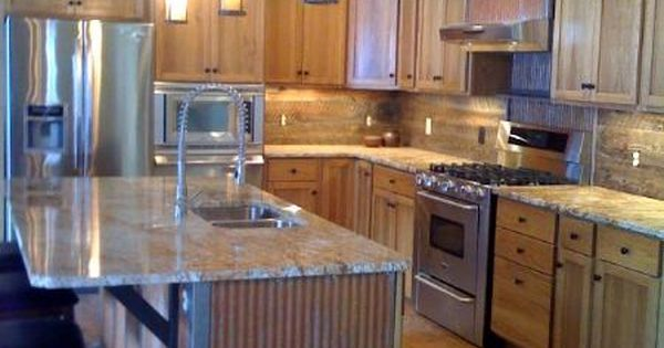 Kitchen Island With Rustic 1 1 4 Quot Corrugated Metal Metal