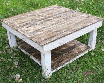 White Shabby Farmhouse Reclaimed Wood Coffee Table With Shelf