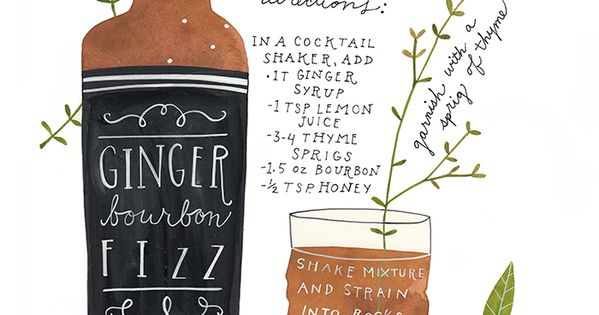 drink recipes - mini bottles of bourbon with pretty illustrated recipe cards