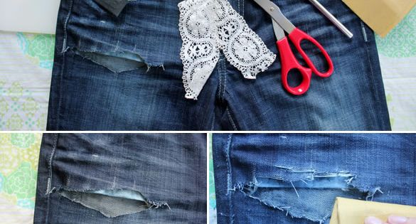 Patch jeans with lace.