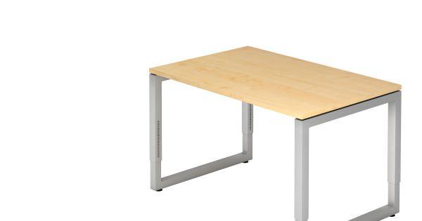 Schreibtisch Rs12 O Fuss Eckig 120x80cm Ahorn Gestellfarbe Silber