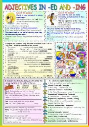 English Worksheet Adjectives In Ed And Ing B W Version Key