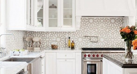 Herringbone Floors White Cabinetry And Graphic Tile
