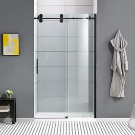 Ove Decors Sydney 78 75 In H X 46 25 In To 47 75 In W Frameless Bypass Sliding Matte Black Shower Door Clear Glass Lowes Com Shower Doors Black Shower Doors Sliding Shower Door