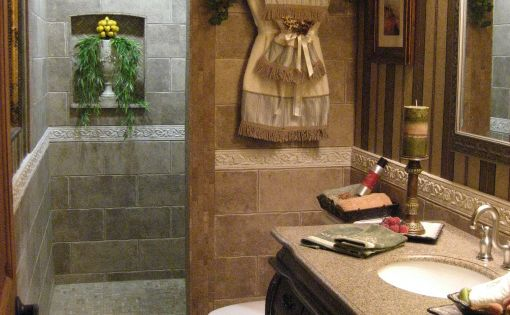 Blah to spa bath tuscan makeover bathroom designs for Spa bath designs and layouts
