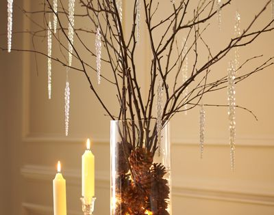 Cool holiday decoration (minus the icicles!) Tree branches in pine cones in