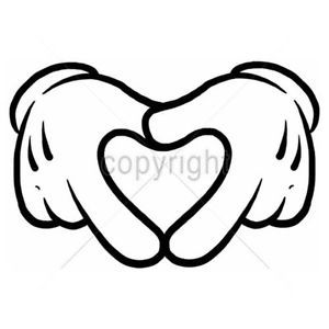 Heart Hands Love You White Gloves Cartoon Mickey Hands Funny Saying-Mens T-shirt