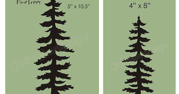 Pine Tree Stencil Rustic Mountain Lodge Home Decor Cabin