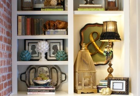 Great blog about styling bookcases, with lots of examples. Built in's around