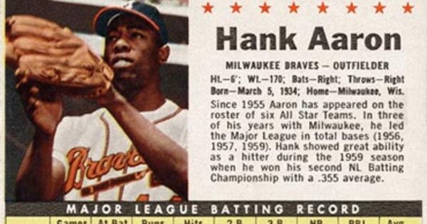 1961 Post Cereal Hank Aaron 107p Baseball Card Value Price Guide Baseball Card Values Baseball Cards Old Baseball Cards