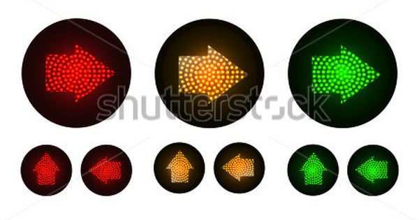 Arrow Traffic Lights With Red Yellow And Green Lamps On Illustration Vector Traffic Light Light Red Green Lamp