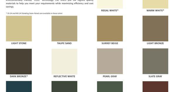 Metal Building Color Chart Metal Roof Colors Standing Seam Metal Roof Roof Colors