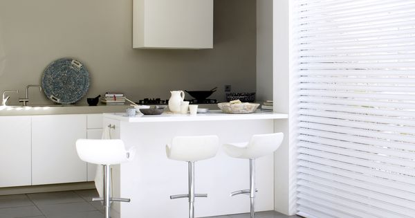 Dimago raamdbekleding vlinderjaloezie wit leer keuken inspiratie kleur verf op de muur - Kleur verf moderne keuken ...