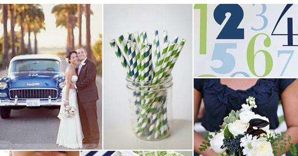 summer wedding color palette: navy, green, white