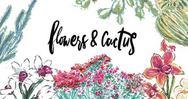Flowers and cactus illustrations
