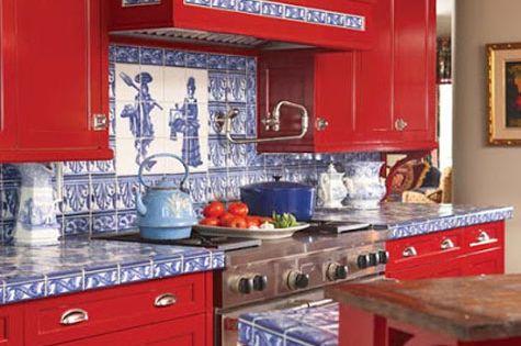 Red rooms decorating with the color red bright red for Bright red kitchen cabinets