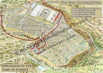 Way to Golgotha | Bible Charts & Maps | Bible activities, Bible